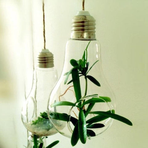 New Glass Bulb Lamp Shape Flower Water Plant Hanging Vase Container Home Indoor Office Wedding Decor