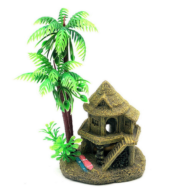 Simulation Resin Coconut Tree Castle Aquariums Fish Tank Ornaments Decoration  Green+Brown