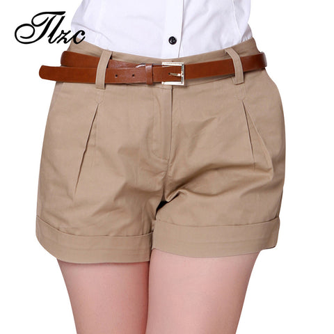 S-2XL  Design Lady Casual Short Trousers Solid Color Black / Khaki / White