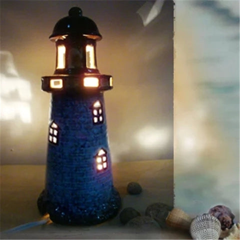Mediterranean sea style lighthouse shade night light table lamp ceramic decoration gift for kids