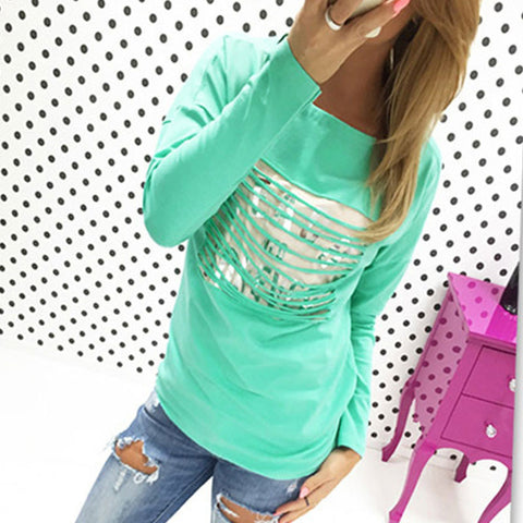 Crewneck Top Blouse Slim Stylish Chic T-Shirt