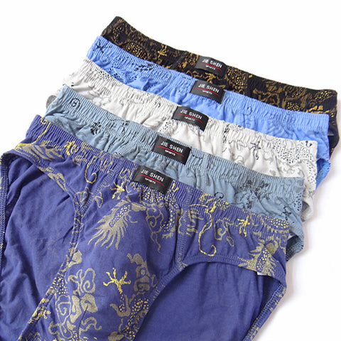5pcs/lot 100% Cotton Briefs Printing Men's Comfortable Underpants Underwear for men L/XL/2XL/3XL/4XL