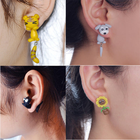 Animal Cat Dog Sunflower Squirrel Earring