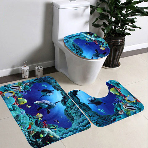 3Pcs New Sea World Toilet Rug