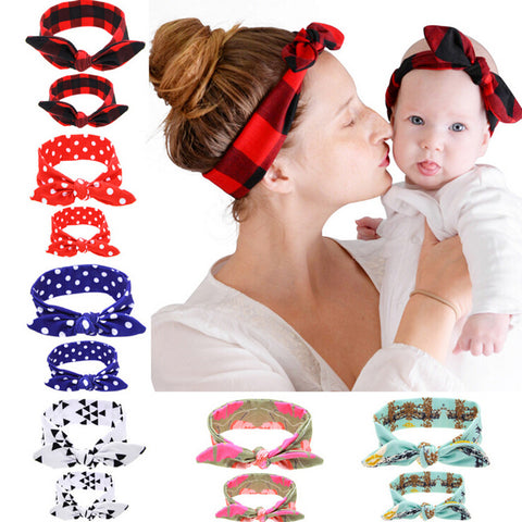 2Pcs/Set Mom and Baby Rabbit Ears Elastic Cloth Bowknot Headband Accessories