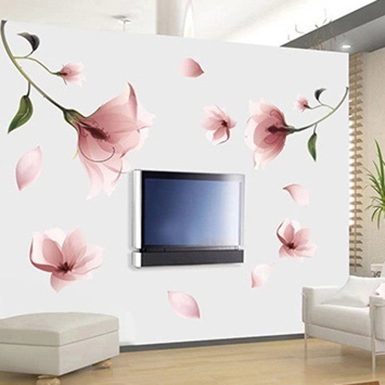 New Elegant Frosted Pink Lily Flower Petal Removable Wall Sticker Bedroom Living Room Home Decor DIY