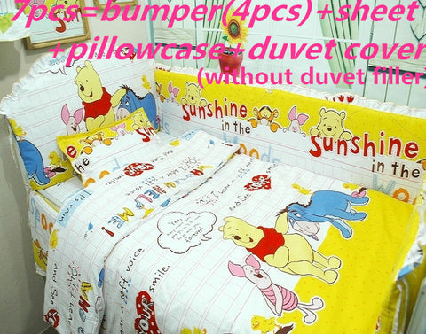 Promotion! 6/7PCS thicken Cot Crib baby Bedding set for Boy bed kit Bumper pillow,120*60/120*70cm