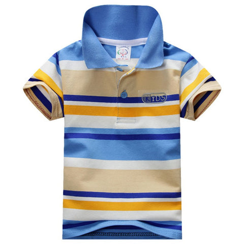 Big Boy Clothes Summer Style Short  Sleeve Cotton Striped Children's Clothing 1-7Y