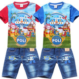 POLI ROBOCAR Kids Suits Shirt Jeans Shorts Pants 100% Cotton Clothes Set