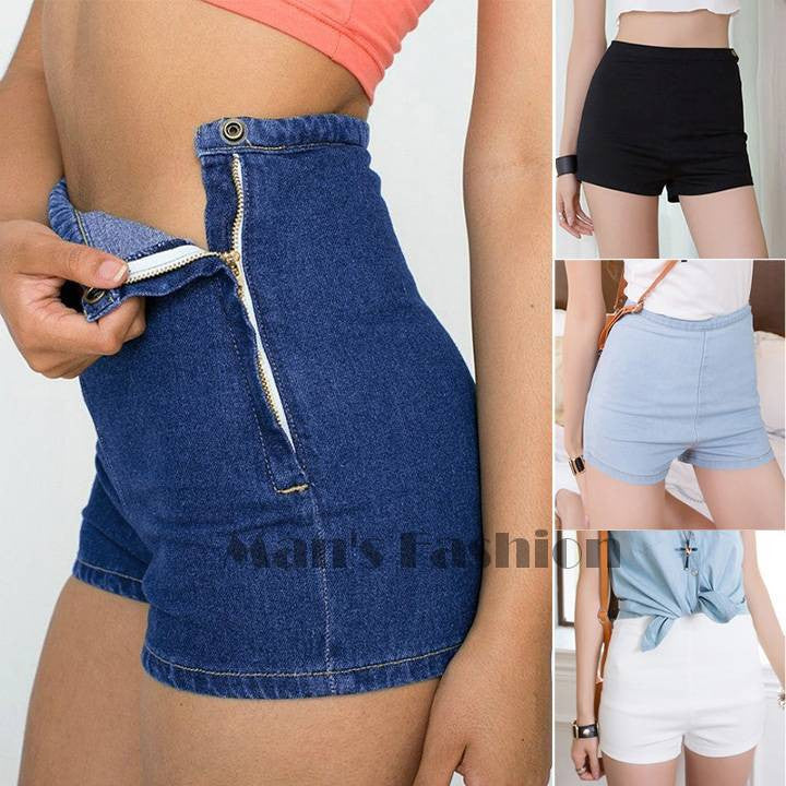 Slim High Waist Denim Jeans Short Hot Pants Tight A Side Button Pants B16 SV004558