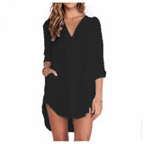 Women Sheer White Shirts Dress Long Sleeve Pocket Casual Blouse Tops Plus Size Mini Dress