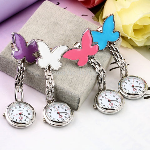 1pc Pocket Medical Nurse Fob Watch Women Dress Watches 4 Colors Clip-on Pendant Hanging Quartz Clock Butterfly Shape New