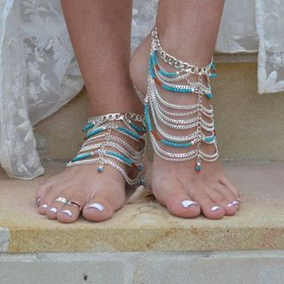 barefoot beach turquoise beads multilayer tassel chain foot chain lady's anklets