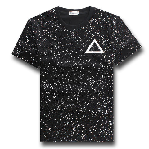 Black&White Polka Dot Galaxy Triangle Graphic Tees Mens/Boys Teens Casual Tee Shirt