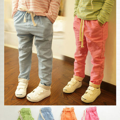 Candy Color Pants Summer Cotton Breathable Hemp Trousers Kids Drawstring Joggers, YC057
