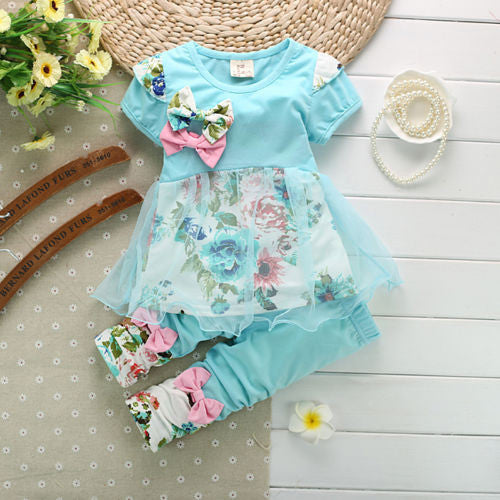 Bowknot Summer Floral T-shirts Tops and Pants Leggings 2pcs Cute Children Outfits Girls Set