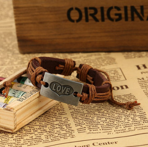 assorted metal letter love jewelry leather bracelet women braclets