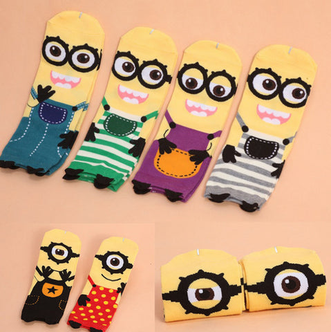 Girl Cute Minions Despicable Me Printing Tube Socks Sock Free Size