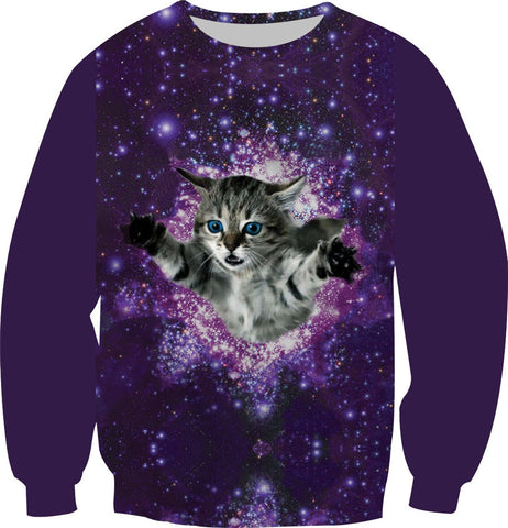 Galaxy Cat Putin Skull Animal Print Hoodies Boy Girl Kids Casual Pullover Tops Fleece Inside Clothes