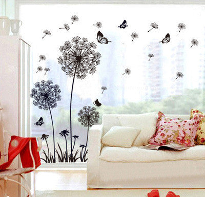 """Butterfly Flying In Dandelion ""Wall Sticker"