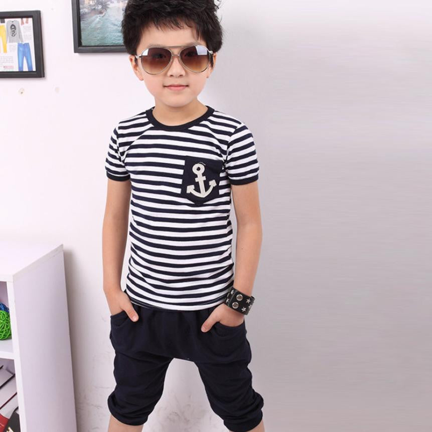 Children Clothing Boys Navy Striped T-shirt And Pants Suits lowest price boys clothes