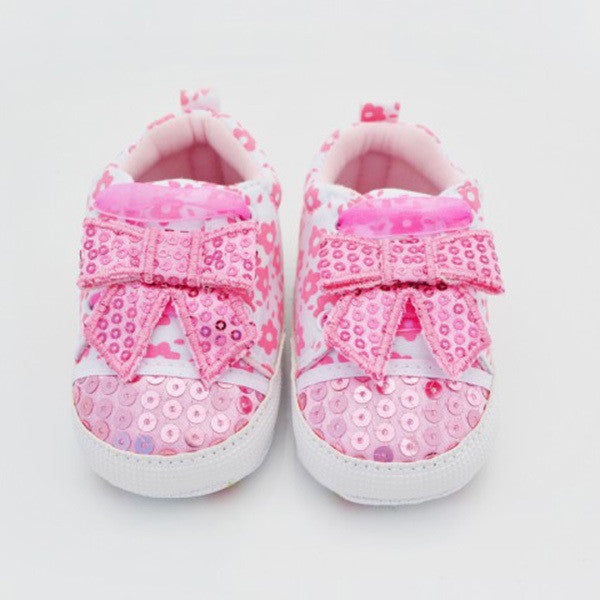 New pink lace bow baby girl shoes sequins firs walker Baby shoes