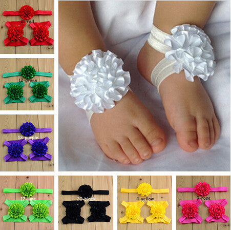20pcs baby barefoot sandals with matching Ruffle Flower Headband
