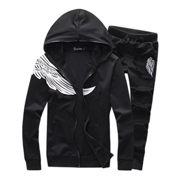 Wings printed sport suit men's fleece suit cultivate one's morality leisure coat male big yards