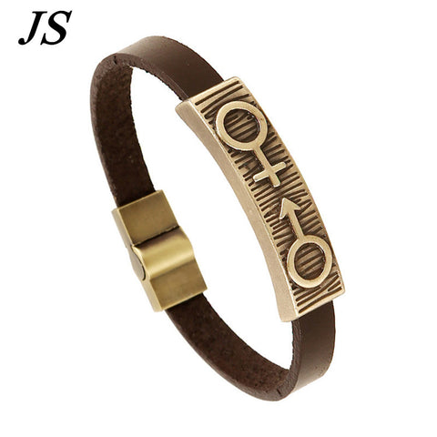 Bracelet Male Designer Friendship Leather Cuff Braclet Men Women Best Friends Lesbian Jewelry LB100