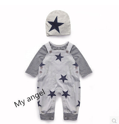 3pcs( hat+ overall+ Long-sleeved T -shirt  )baby t-shirt pant suit