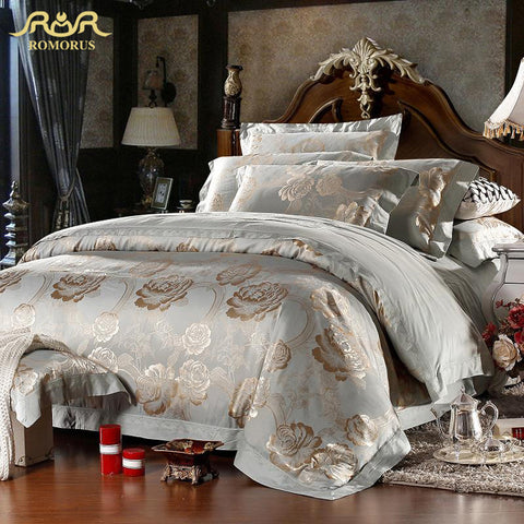 Satin Jacquard Duvet Cover Bed Set King Queen Size 100% Cotton Bed in a Bag Bright Bed Linen