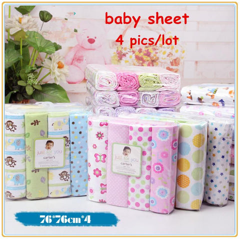 4pcs/lot ,100% cotton set super soft colorful receiving crib cheap linen 76x76cm