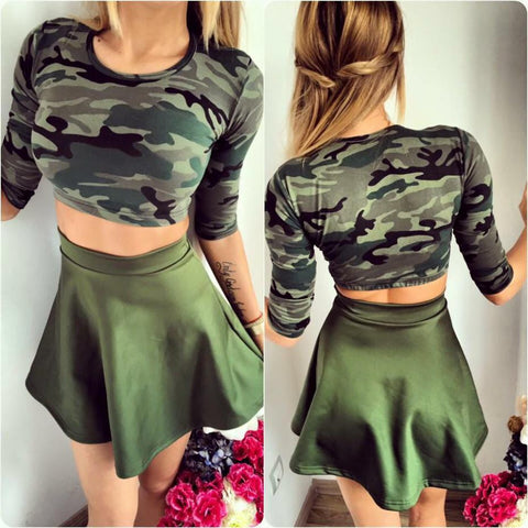 Crop Top And Skirt Set Women Camoflage Green Army Printed 2 Pieces Set 2016 Summer Fashion Skirt Set