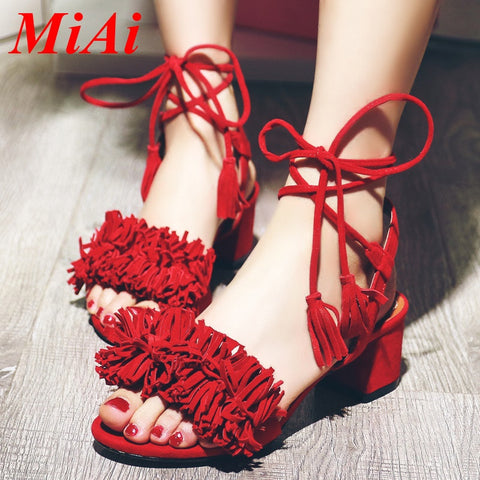 high heels peep toe tassel pumps big size 34-43 casual party shoes woman