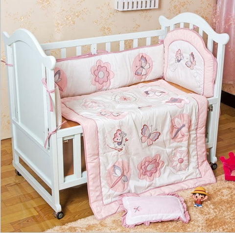 6PCS Bedding Set Baby Quilt Nursery Cot Crib Bedding ,include(bumper+duvet+bed cover)