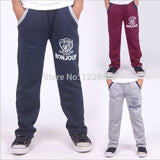 Children kids boys Embroidery Terry Long sport pants