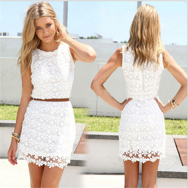 Women dress white lace sleeveless cute casual sexy summer dresses Vestidos roupas femininas