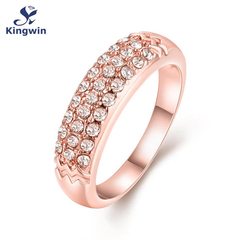 gold plated jewelry rhinestone women ring