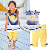 Children Clothing  2 PCS Set Short Sleeve Striped T Shirt +Pants CF104