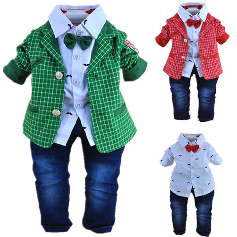 baby boy high quality plaid gentlemen clothing sets 3pcs kids clothes sets boy handsome coat set boy