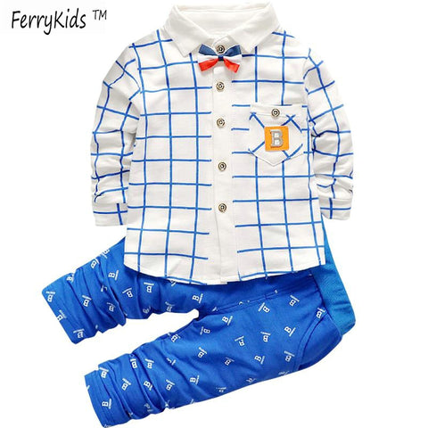 Clothing Sets Plaid Shirt + Pants Toddler Boys Clothes Set Children Fashion Outfits