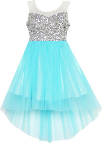 Girls Dress Sequin Mesh Party Wedding Princess Tulle Blue 7-14