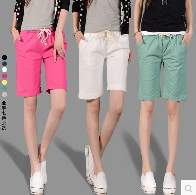 Candy Colored Female Loose Linen Pants Casual Women Fashion Elastic Waist Lace Shorts Feminino