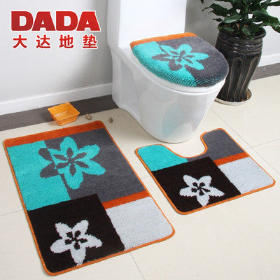 3pcs bath mats and toilet set