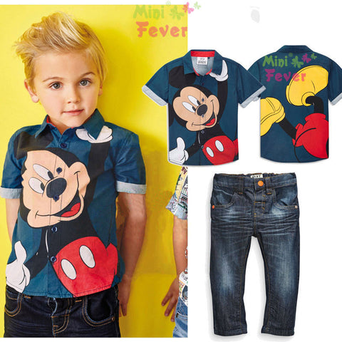 2 piece  Cartoon T-Shirt and Pants Cotton and Linen