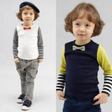 Baby Boys Bowties Stripes Long Sleeve T-shirt Shirt Tops Toddler Clothes New Free Shipping