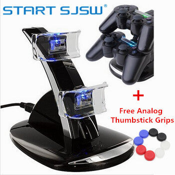 Dual Controller LED Blue Light Charger Dock Station for PlayStation 4 PS4 USB Fast Charging Stand