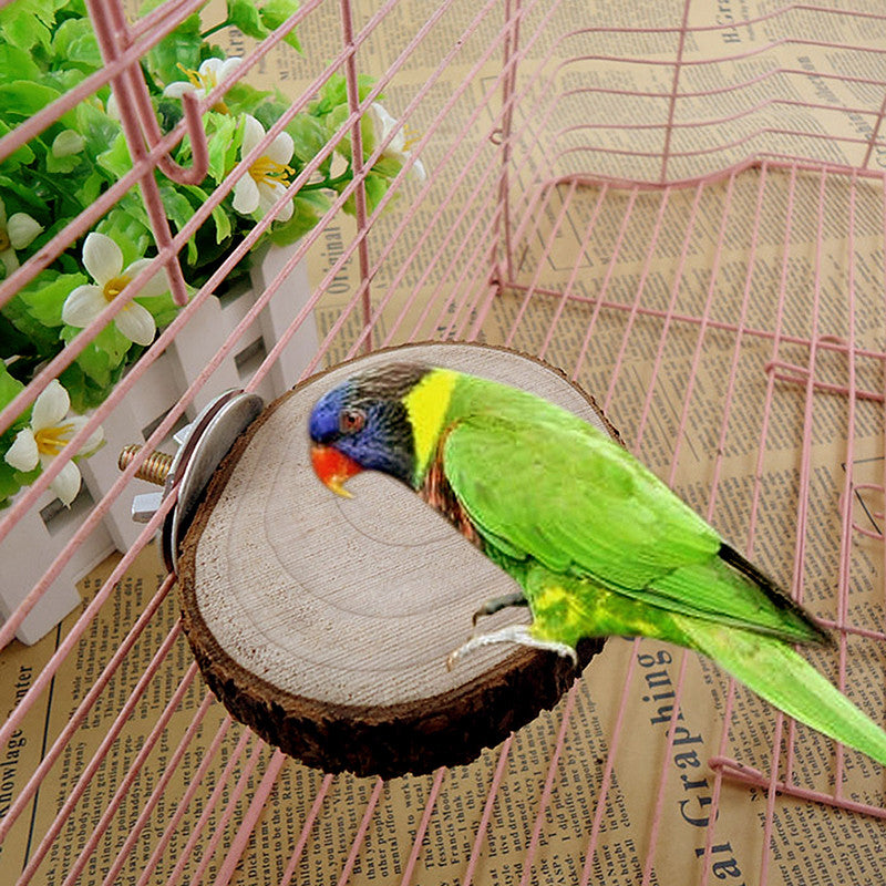 Round Wooden Coin Parrot Bird hamster Cage Perches Stand Platform Pet Budgie Hanging Toy G01536