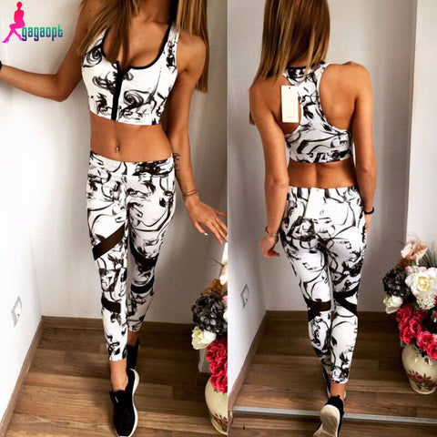 2 Piece Set Sport Bra Top and Elastic Capris Female Casual Women's Set Free Shipping