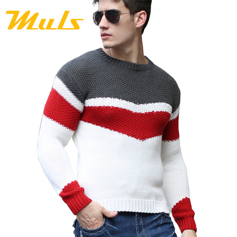 Fashion pullover wool cotton  dress thick shirt O-neck stripted full